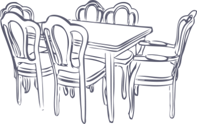 Illustration of dining table and chairs